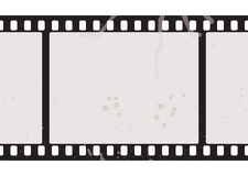 Film strip concept. Illustrated film strip with grunge concept and dirty splats Stock Photography