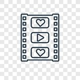 Film Strip concept vector linear icon isolated on transparent ba royalty free illustration