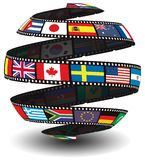 Film strip containing flags. From around the world in the shape of a globe/sphere Royalty Free Stock Photos