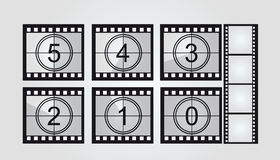 Film strip countdown. Black and white film strip countdown over gray background. vector Royalty Free Stock Photos