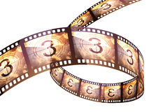 Film strip countdown. (clipping path and isolated on white Royalty Free Stock Photo