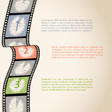Film strip countdown infographic. Design with text Royalty Free Stock Images
