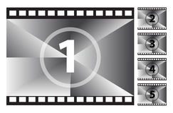 Film Strip Countdown. Vector illustration of a old film strip countdown Stock Images