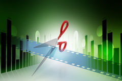 Film strip is cut with scissors. In color background Stock Photos