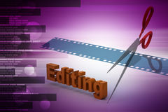 Film strip is cut with scissors. In color background Royalty Free Stock Image