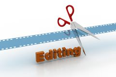Film strip is cut with scissors. In white background Royalty Free Stock Photo