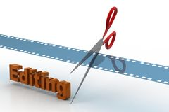 Film strip is cut with scissors Stock Photography