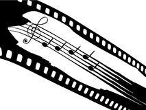 Film strip with elements of music. Vector illustration of film strip with elements of music Stock Photography