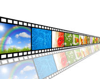 Film strip environment concept. Film strip of nature environment set Royalty Free Stock Photo