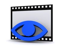 Film Strip & Eye. A 3D illustration of a blue eye on a film strip, isolated on white background Stock Images