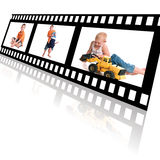 Film Strip of Family Memories. Film strip with reflection on a white background showing male siblings playing Stock Photo