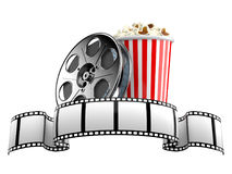 Film strip with film reel and popcorn. Isolated on white background Royalty Free Stock Photo