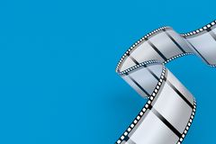 Film strip. Isolated on blue background. 3d illustration Royalty Free Stock Photography