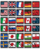 Film strip flags Stock Photo