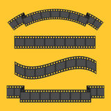 Film strip frame four set. Different shape ribbon. Design element. Yellow background. . Flat Royalty Free Stock Photo