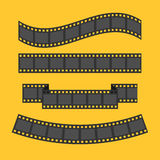 Film strip frame set. Different shape ribbon. Design element. Yellow background. Flat design. Vector illustration Royalty Free Stock Image