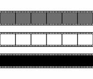 Film strip frame set in flat style isolated on white background. Design element. Vector illustration Stock Photography