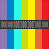 Film strip frame. Straight shape ribbon. Design element. Rainbow flag background. LGBT Gay movie cinema sign symbol. Flat . Stock Images