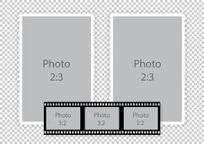 Film strip frames collage for photoalbum. Vector illustration Royalty Free Stock Photo