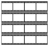 Film strip frames frame. A landscape image of 35mm film strip showing 16 black frames which could be used as a story board Royalty Free Stock Photography
