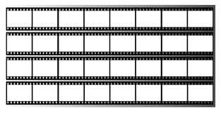 Film strip frames frame. 35mm film strip showing 32 black frames which could be used as a story board on a grey graduated background Stock Image