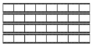 Film strip frames frame. 35mm film strip showing 32 black frames which could be used as a story board on a white background Royalty Free Stock Image