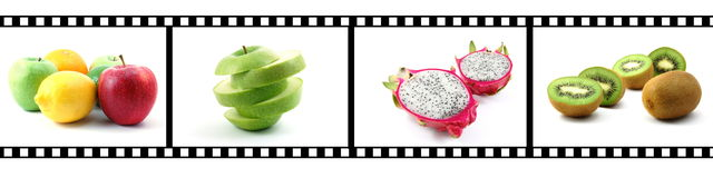 Film strip with fruit collection Royalty Free Stock Photo