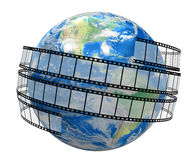 Film Strip and globe. White background Stock Photography
