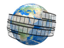 Film Strip and globe. White background Stock Photos