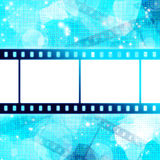 Film strip on glowing blue. Background Stock Photo