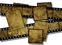 Film strip  with grunge texture. Film strip and film plates with  vintage grunge texture, high detail Royalty Free Stock Photography