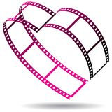 Film strip heart shaped on white. Vector illustration of heart shaped pink film strips on white background Stock Photos