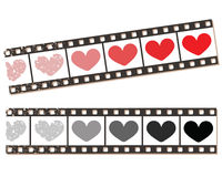 Film strip with hearts. Movie and entertainment concept. Digitally generated vector illustration Royalty Free Stock Images