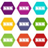 Film strip icons set 9 vector. Film strip icons 9 set coloful isolated on white for web Royalty Free Stock Photos