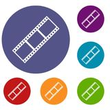 Film strip icons set. In flat circle reb, blue and green color for web Stock Images