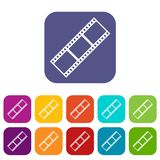 Film strip icons set. Vector illustration in flat style in colors red, blue, green, and other Royalty Free Stock Image