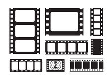 Film strip icons. Vector black film strip on white background Stock Image