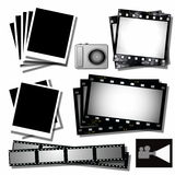 Film strip, instant photo frames. Collection film strip, instant photo frames, icon  camera and projector Royalty Free Stock Photo