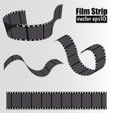 Film strip isolated on transparent background. Movie reel template. Vector Stock Photos