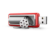 Film strip in the middle USB drive. On a white background. 3D illustration Royalty Free Stock Image