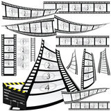 Film strip and movie clipper vector. Art illustration Stock Images