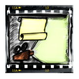 Film strip and movie projector. Doodle film strip frame and movie projector Royalty Free Stock Photo