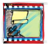Film strip and movie projector. Doodle film strip frame and movie projector Royalty Free Stock Images