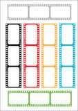 Film strip multicoloured. Various film strips in various colours Stock Photos