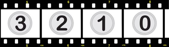 Film strip with numbers. Illustration of film strip with numbers Royalty Free Stock Images