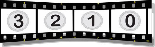 Film strip with numbers. Illustration of a film strip with numbers perspective back Royalty Free Stock Images