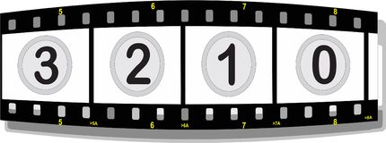 Film strip with numbers. Illustration of a film strip with numbers perspective front Royalty Free Stock Photo