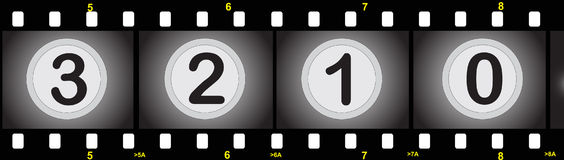 Film strip with numbers. Illustration of a film strip with numbers Stock Photo
