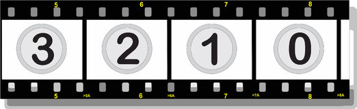 Film strip with numbers with shadow. Illustration of a film strip with numbers with shadow Royalty Free Stock Photo