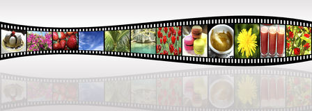 Film strip. Panoramic background - film strip with shots of a happy life Royalty Free Stock Photos